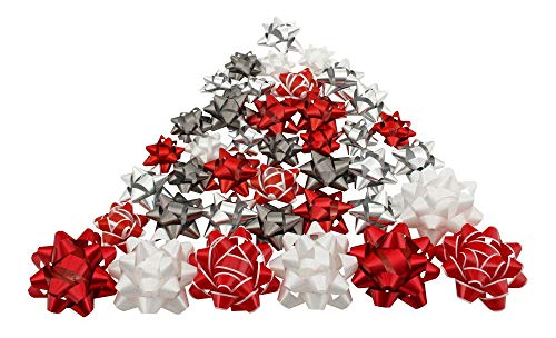 Berwick 40-count Peel-n-Stick Assorted Holiday Bows, White/Silver/Red/Gray