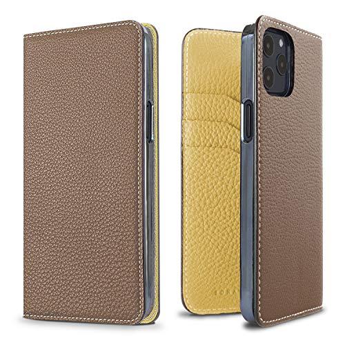 BONAVENTURA Diary Smartphone Hülle [Kompatibel mit iPhone 12/12 Pro, Etoupe und Yellow] BODT12-ETYE