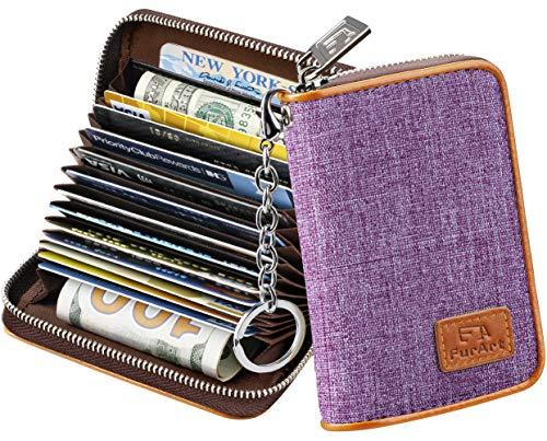 FurArt Creditcard-portemonnee, Rits kaarthouder voor mannen-vrouwen, RFID-blokkering, Sleutelhanger, 15/16 slots, Compact formaat