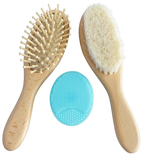 Wooden Baby Hair Brush Set with Natural Goat Hair Bristles ~ Cradle Cap Brush ~ Best Baby Shower and Registry Gift ~ Supports Charity (Brush Set with Blue Scrub Pad)