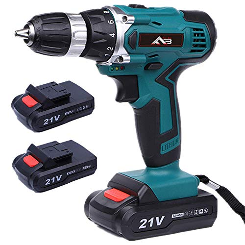 Flybiz 21V 1650 /min Professional Industrial Chargable Cordless Drill Driver with 2pcs 1500mAh Li-ion Battery, 1 Hr Fast Charger, 2 Speed Compact Electrical Drill