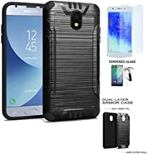 Phone Case Compatible for Samsung Galaxy J3-Orbit, Galaxy J3 Mission-2 (Verizon) Tempered Glass with Dual-Layered Cover (Combat Brush Black-Black TPU-Tempered Glass)
