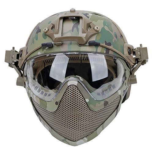 Casco Protector de Cara Completa Airsoft PJ táctico Integrado F22 con máscara de Malla de Acero Desmontable y Gafas ⭐