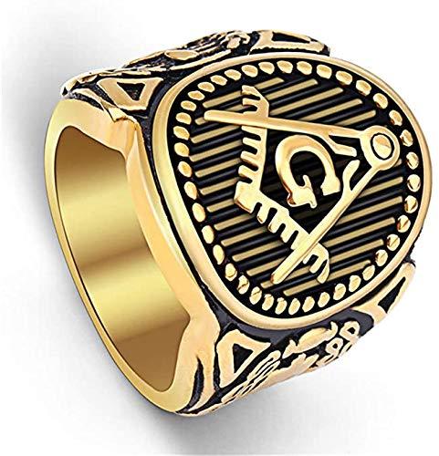 Feeyond El Anillo de Acero Inoxidable para los Hombres Retro Anillo Plateado Oro masónico masonería Tamaño joyería 7-15,14