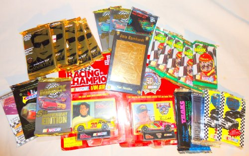 Dale Earnhardt Sr. GOLD CARD plus 2 Diecast Cars and 20 Nascar and Drag Racing Packs