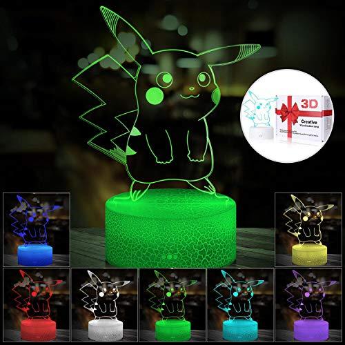 3D Illusion LED Nachtlicht, 7 Farben Allmählich wechselnder Berührungsschalter USB Tischlampe für Weihnachtsgeschenke oder Hauptdekorationen (Crack Style)