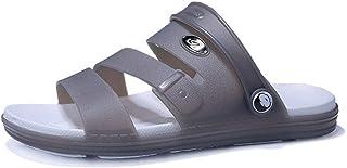 Fashion Sandals for Men Slipper Shoes Slip On Plastic Leather Dual Purpose Shoes Men's Boots (Color : Gray, Size : 6 UK)