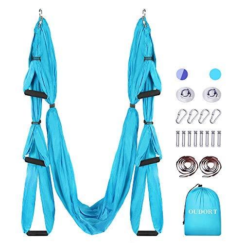Oudort Aerial Yoga Hängematte Set, Yoga Schaukel Set mit 2 Verlängerungsgurten für Fitness zu Hause, Verbessern Flexibilität und Kernfestigkeit Montagezubehör inklusive, Blau/Lila
