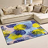 SunsetTrip - Alfombra para sala de estar, dormitorio, diseño de palmera tropical, antideslizante, moderna, suave, lavable, 152 x 99 cm