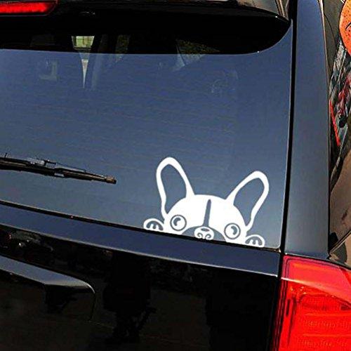 Auto Aufkleber Ronamick Netter Hund Wasserdicht Auto Aufkleber Super Cool Auto Styling Aufkleber (Weiß)