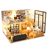 Spilay DIY Miniature Dollhouse Wooden Furniture Kit,Handmade Mini Modern Model Plus with Dust Cover & Music Box ,1:24 Scale Creative Doll House Toys for Children Lover Gift (Happiness Code)