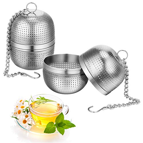 Xinstroe 2 Pack Tea Strainer Tea Infuser Food Grade Mesh Tea Filter 304 Stainless Steel Tea Filters with Extended Chain Hook for Loose Leaf Tea and Spices & Seasonings