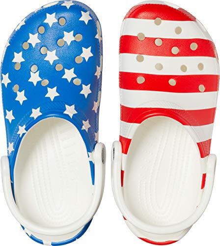 Crocs Classic American Flag Clog, white/multi, 13 US Women / 11 US Men