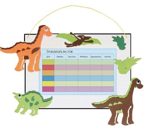 alles-meine.de GmbH Bastelset Stundenplan - für Schulstunden Dinosaurier Tier grün weiß Junge - Grundschule Schule Schulanfang Einschulung Kinderzimmer Planer