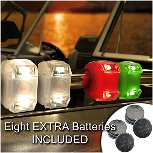 Bright Eyes Green, Red, White Portable Marine LED Emergency Water-Resistant Boating Lights - Boat Bow or Stern Safety Light
