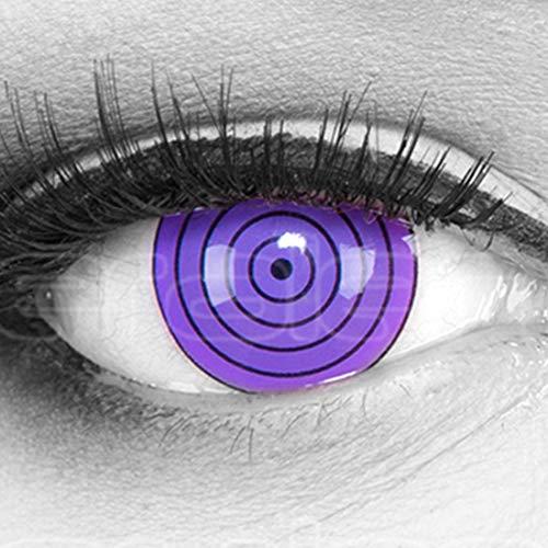 Farbige Funnylens Mini Sclera lila Violet Rinnegan Kontaktlinsen Lenses inkl. 60 ml Pflegemittel und Behälter, weich ohne Stärke, 2er Pack - Top-Markenqualität, angenehm zu tragen und perfekt zu Halloween oder Karneval