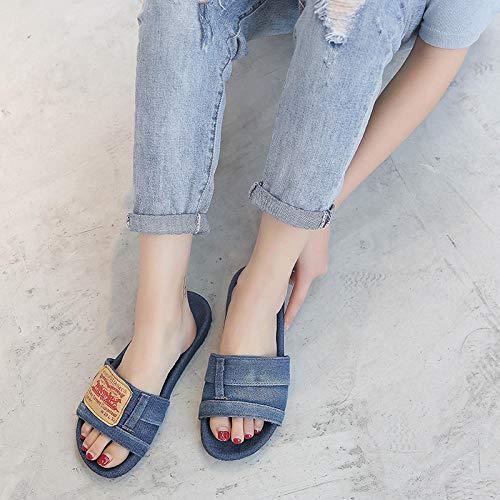YYFF Zapatillas de Moda de Verano,Piatto con pantofole in Denim,Infradito da spiaggia-Deep Blue_38,Sandalia Tipo Chancla con