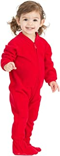 Footed Pajamas - Bright Red Infant Fleece Onesie