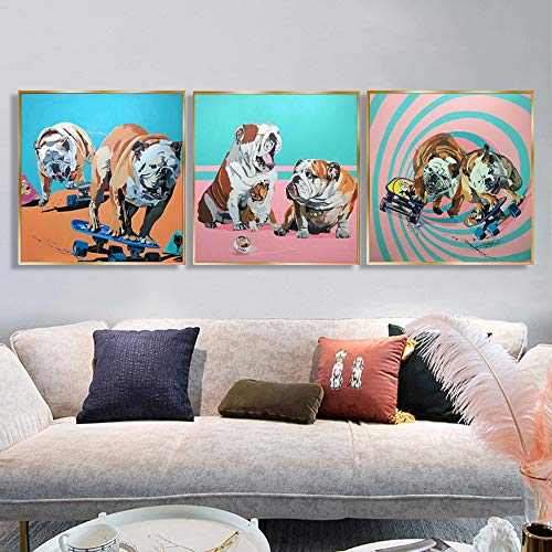 Geiqianjiumai Family Shar Pei Dog Skateboard Poster e Imprimir Cuadros de Lienzo de Arte Animal Lindo y Divertido para Sala de Estar Pintura sin Marco 30x30cm