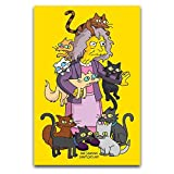 Disfraz infantil de anime de los Simpsons Simpsons Crazy Cat Lady para decoración de pared, póster de 40 x 60 cm