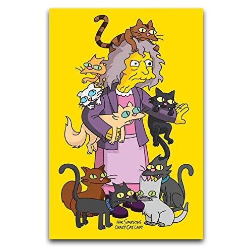Disfraz infantil de anime de los Simpsons Simpsons Crazy Cat Lady para decoracin de pared, pster de 30 x 45 cm