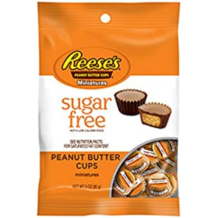 Reese's Peanut Butter Cup Miniatures, Sugar Free, 3-Ounce Bag (Pack of 12):Tudosobrediabetes