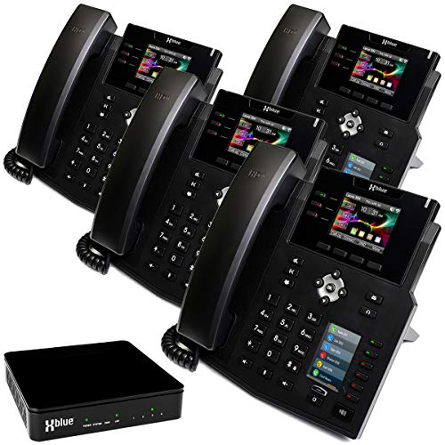 XBLUE QB System Bundle with 4 IP9g IP Phones Including Auto Attendant, Voicemail, Cell & Remote Phone Extensions & Call Recording