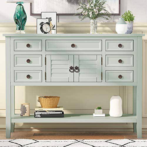 """Buffet Table 45"""" Console Tables with Cabinet 7 Storage Drawers and Bottom Shelf Retro Style Sideboard Console Table for Living Room, Entryway, Hallway"""