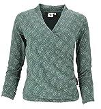 Guru-Shop Langarmshirt in Wickeloptik aus Bio-Baumwolle, Shirt mit Rosendruck, Damen, Farngrün, Size:S (36), Pullover, Longsleeves & Sweatshirts Alternative Bekleidung