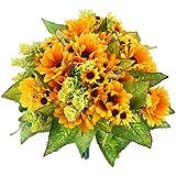 5PCS Artificial Sunflower Bouquet, 9.8inch Silk Sunflower Wedding Flower, Home Decoration Wedding Decor