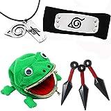 Naruto Cosplay, Headband Kunai Frog Wallet Necklace for Birthday Anime Gift (red)