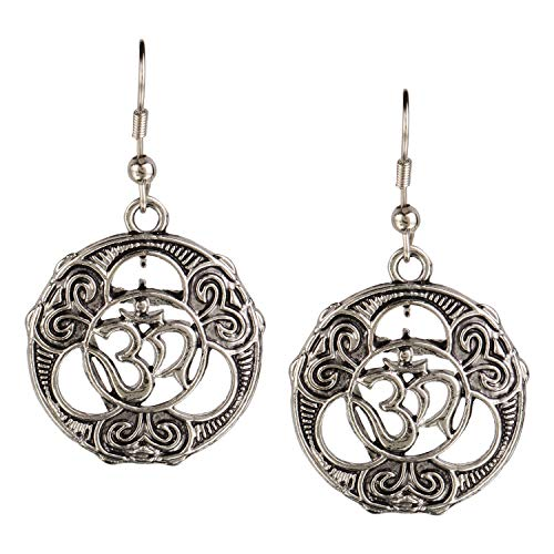 Efulgenz Boho Vintage Antique Ethnic Gypsy Tribal Indian Oxidized Silver OM Religious Dangle Earrings Jewellery
