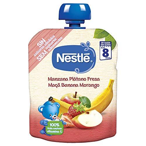 Nestlé Bolsita Puré Manzana, Plátano Y Fresa, A Partir De Los 8 Meses, 90 G - Pack de 16 bolsitas 90g