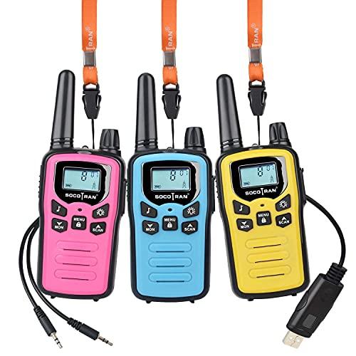 SOCOTRAN R60 Walkie Talkie Professionali, Lunga Distanza PMR446 Woki Toki Bambini, 8 Canali Radio Bidirezionale con Display LCD 99 Codici Privacy Torcia Monitor VOX per Campeggio ed Escursionismo
