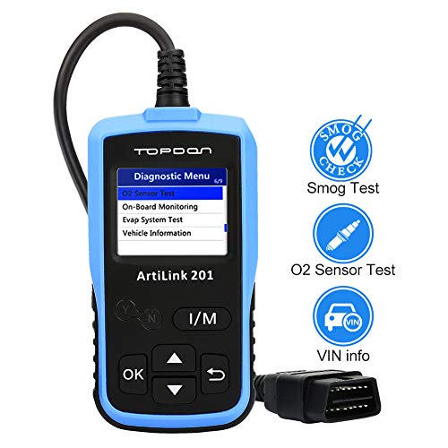 Fantastic Prices! OBD2 Code Reader – Full OBDII Functions Scan Tool for I/M Emission Test, OBD2 Scanner Car Diagnostic Tool with On-board Monitoring and Turning off MIL(Check Engine Light) TOPDON AL201