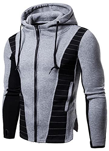 Sudadera con capucha para hombre con cremallera completa, con capucha y bolsillos