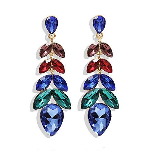 OUHUI Pendientes Creativos de Diamantes de Imitación Imitados, Pendientes Colgantes de Colores Brillantes, Pendientes de Diamantes Imitados para Mujeres, Regalos para el Día de la M