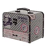 """Caja Costura Decorativa de Madera con Set de Costura"""" Sewing Shop"""". Costureros. Cajas Multiusos. Regalos Originales. Decoración Hogar. 25,50 x 18 x 20 cm."""