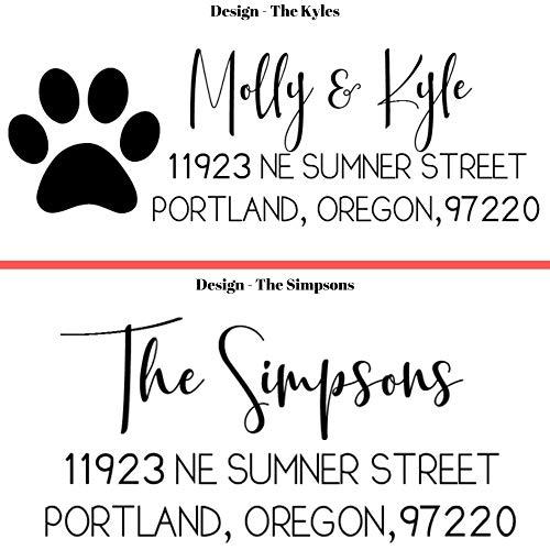 20 Designs to Choose!! Personalized - Address Stamp - Customized Stamp - Self-Inking Return Address Mail 3 Lines Custom Address Stamper - Black Red Blue Purple Green Ink - Wedding Invitation Stamp Photo #8