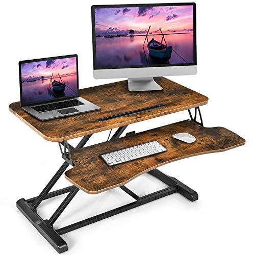 COSTWAY Escritorio de Altura Ajustable para Sentarse y Pararse con Estante para Teclado y Soporte para Tableta Mesa de Ordenador para Oficina Hogar (Marrón)