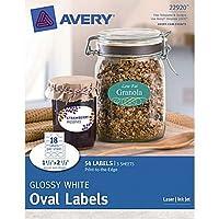Avery 端まで印刷可能 光沢ホワイト楕円形ラベル 22920 1-1/2インチ x 2-1/2インチ 54枚パック