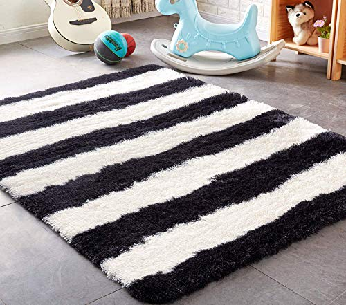 PAGISOFE Black and White Striped Shaggy Area Rugs for Living Room Bedroom 4x5.3 Feet Plush Fuzzy Stripes Patterned Rugs Footcloth Floor Shag Carpet for Kids Nursery Fluffy Accent Home Room Decor