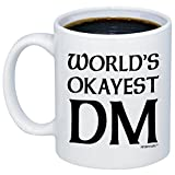 MyCozyCups Dungeon Master Gifts - World's Okayest DM Coffee Mug - Funny D20 Dice Roleplaying Nerdy 11oz Cup For Men, Women, Best Friend - Tabletop RTS RPG Card Boardgame Novelty Gift