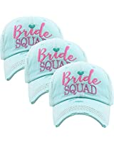 BH-202-3-BS54 Bridal Baseball Cap Bundle: 3 Bride Squad - Mint