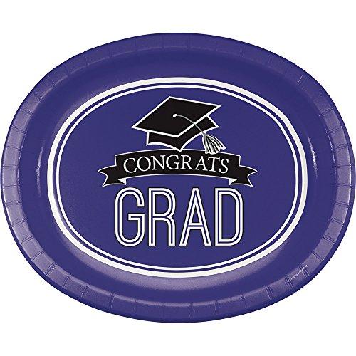 Creative Converting 320077 School Spirit Oval Paper Platters, One Size, Purple