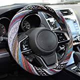 BDK Blue Woven Saddle Blanket Steering Wheel Cover for Cars SUV Van Truck Auto - Driver Grip 15' (SW-701)