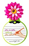 VIGAR Flower Power Bloc de Notas, Material: ABS, LDPE, PVC Friendly, Magenta y Verde, Dimensiones: 10 x 3 x 19 cm