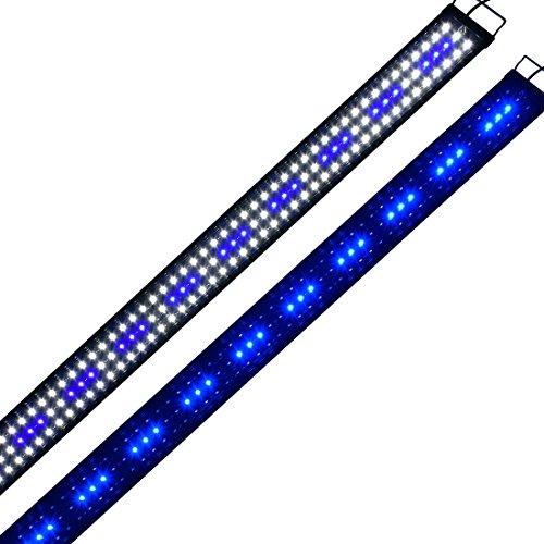 Aquarium-Lampe, Eco Aquarium, 40 cm, Hohe Helligkeit, Weiß/Blau, LED-Beleuchtung, 2 Leuchtmodi, Ausziehbar, mit Stecker Schwarz 150 cm.