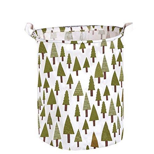 Toy Storage Bin, Large Size Folding Cylindric Waterproof of Coating Canvas Fabric Kids Laundry Basket/Nursery Hamper – Toy Storage/Toy Box/Toy Organizer for Boys and Girls