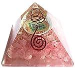 Orgonite pyramide fleur de vie Quartz rose - 7 cm - (Elle appelle l'énergie des anges pour vous entourer et vous protéger) Taille : 7 CM
